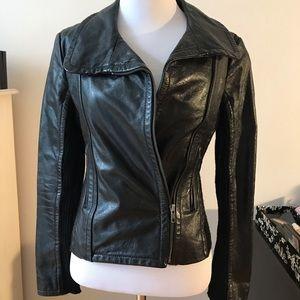 BCBG Black Leather ZIP Up Jacket